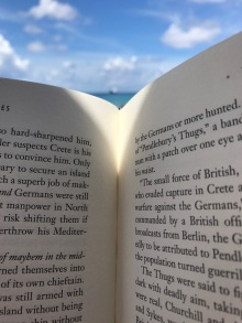 the Bahamas, reading on the beach